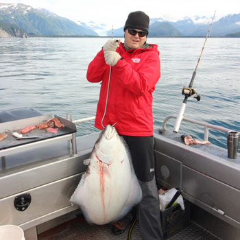 Seward Halibut Fishing Big Halibut Red Jacket